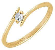 кольцо c фианитом из желтого золота 17022605