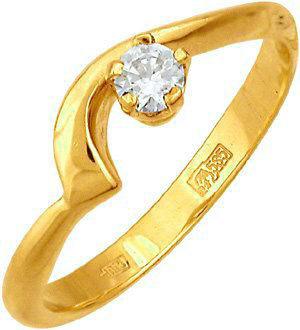 кольцо c фианитом из желтого золота 17021089