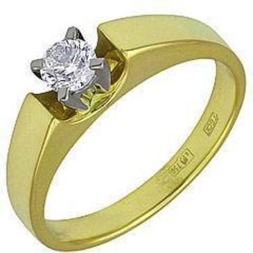 кольцо c фианитом из желтого золота 17021558