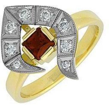 кольцо c гранатом из желтого золота 14331997