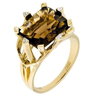 кольцо c кварцем из желтого золота 17887542