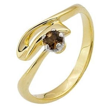 кольцо c раухтопазом из желтого золота 178A1089