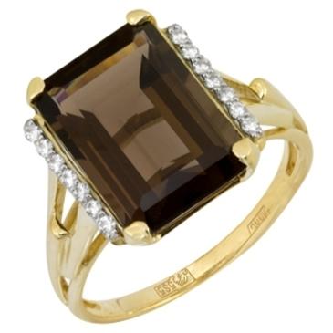 кольцо c раухтопазом из желтого золота 17883292