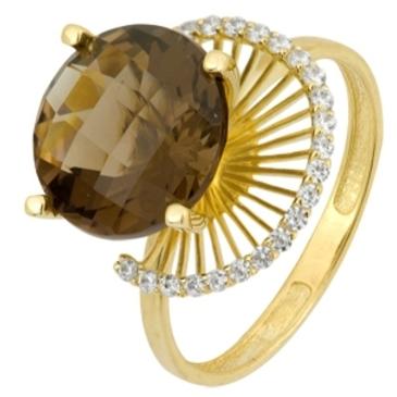 кольцо c раухтопазом из желтого золота 1793001339