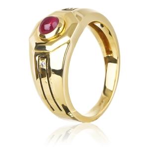 Печатка с рубином и бриллиантами из желтого золота,артикул 19A90088R-з-ж-585