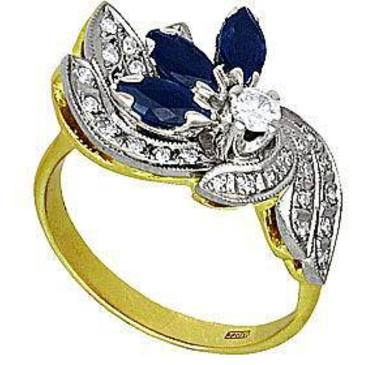 кольцо c сапфирами из желтого золота 1453594