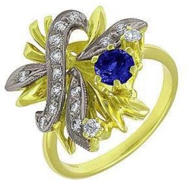 кольцо c сапфиром из желтого золота 1453275