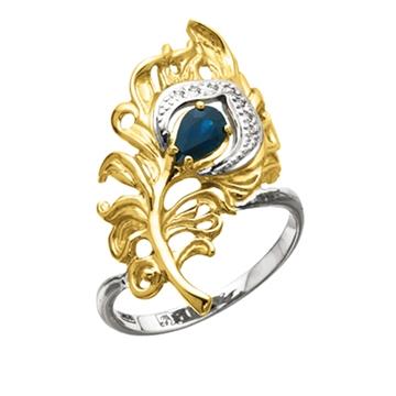 Кольцо 'ПЕРО ПАВЛИНА' с сапфиром и бриллиантами из желтого золота К-24025