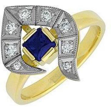 кольцо Русская красавица c сапфиром и бриллиантами из желтого золота 14531997