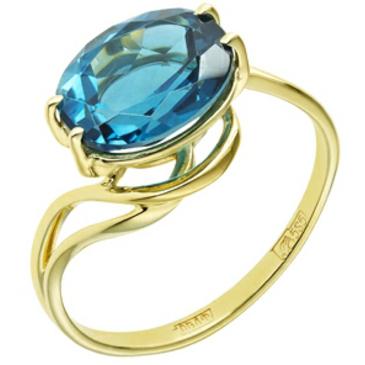 кольцо c голубым топазом 3,1 карата из желтого золота 178e8306