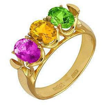 кольцо c топазами из желтого золота 17801071