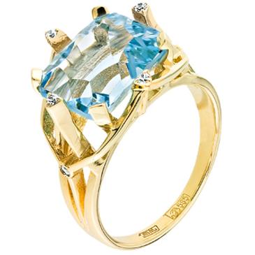 кольцо c топазом из желтого золота 17827542