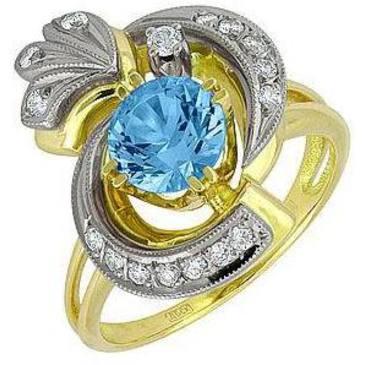 кольцо c топазом из желтого золота 1483570
