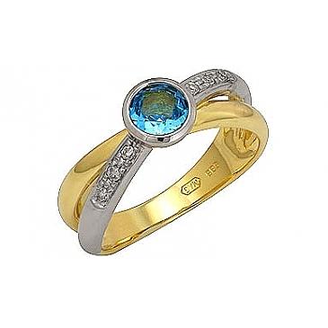 Кольцо с бриллиантами и топазом из желтого золота 71496