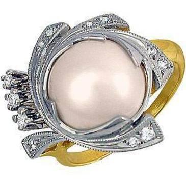 кольцо c жемчугом из желтого золота 1463557