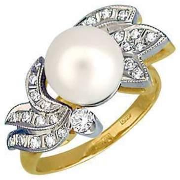кольцо c жемчугом из желтого золота 1463594