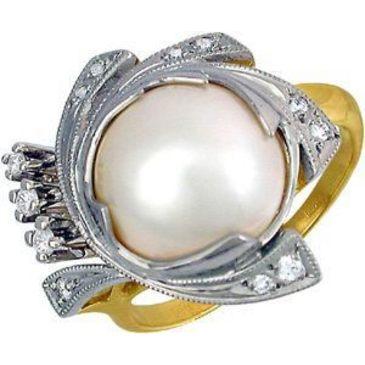 кольцо c жемчугом из желтого золота 1763557
