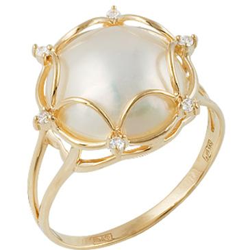 кольцо c жемчугом из желтого золота 17627479