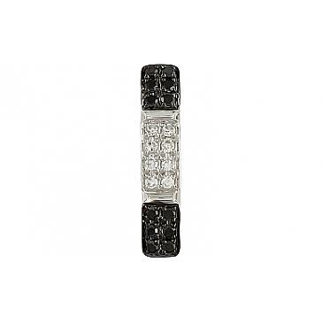 Подвеска с чёрными и белыми бриллиантами из белого золота 106670