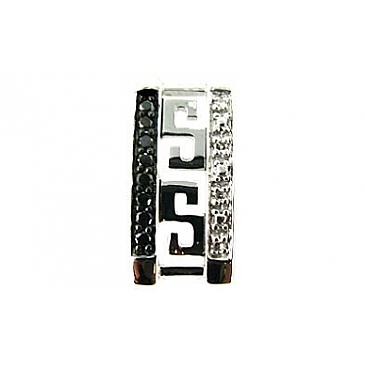 Подвеска с чёрным и белым бриллиантами из белого золота 66001