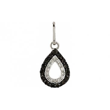Подвеска с чёрными и белыми бриллиантами из белого золота 106111