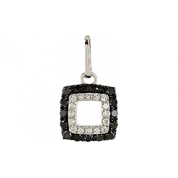 Подвеска с чёрными и белыми бриллиантами из белого золота 106119