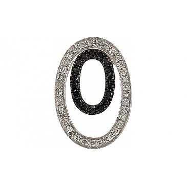 Подвеска с чёрными и белыми бриллиантами из белого золота 107034