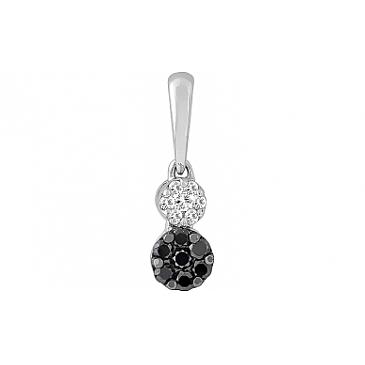 Подвеска с чёрными и белыми бриллиантами из белого золота 114883