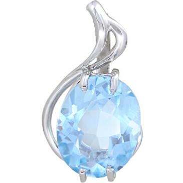 подвеска c голубым топазом из белого золота 33808306