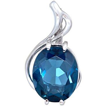 подвеска Камелия c синим топазом из белого золота 338e8306