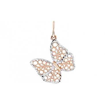 Подвеска бабочка с алмазкой из красного золота 111262