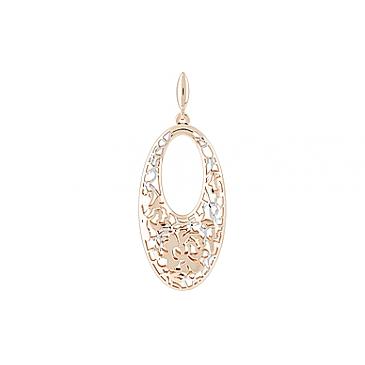 Подвеска без камня с алмазкой из красного золота 122489