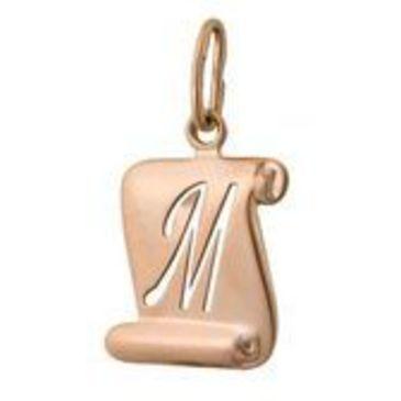 подвеска Буква М из красного золота 1400036165