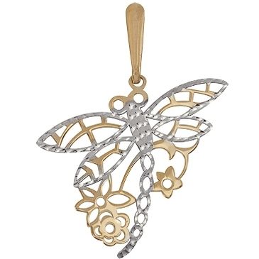 подвеска Стрекоза из красного золота 1401131690
