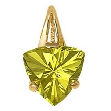 подвеска c салатовым цитрином огранки триллиант из красного золота 1090030202 от EVORA