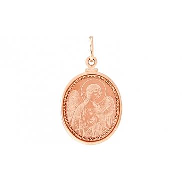 Икона с лазерной гравировкой и холодной эмалью из красного золота 105429