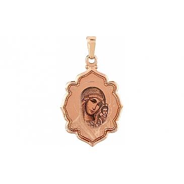 Икона с лазерной гравировкой и холодной эмалью из красного золота 105439