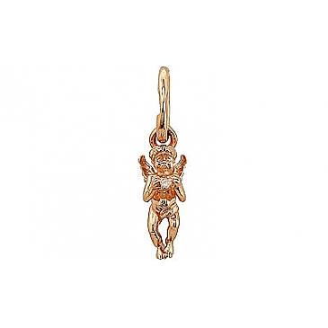 Подвеска ангелок с фианитом из красного золота 74349