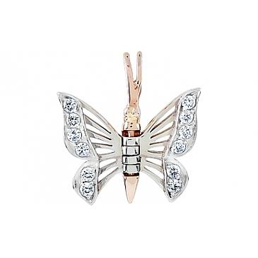 Подвеска бабочка с фианитами из красного золота 111264