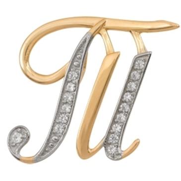 подвеска Буква Т c фианитами из красного золота 1200236057