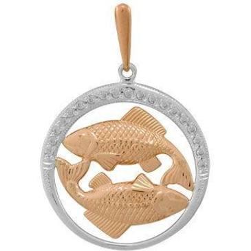 подвеска c фианитами рыбы из красного золота 1206236008
