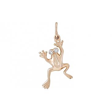 Подвеска испуганная лягушка с фианитами из красного золота 116539