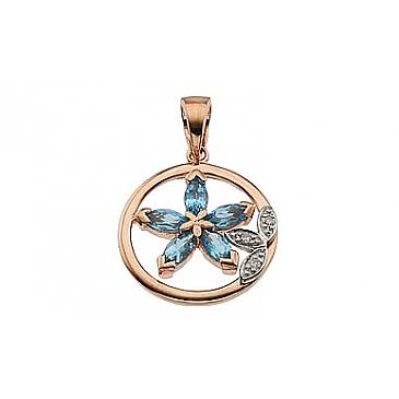 Подвеска голубой цветок с бриллиантом и топазом из красного золота 62760