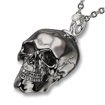 Серебряная черная подвеска с черепом из серебра П-26002