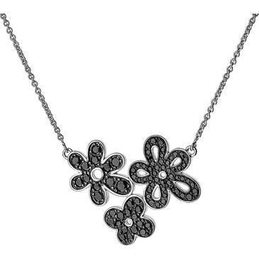 Подвеска на цепочке Cacharel с темя черными цветками из серебра csc260n42
