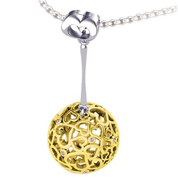 Подвеска шар 'ДЛЯ ЛЮБИМОЙ' из желтого золота П-41001 от EVORA