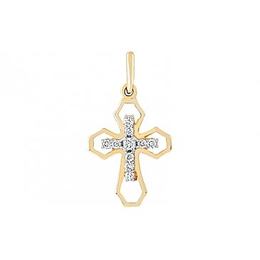 Крестик нательный с бриллиантами из желтого золота 96709