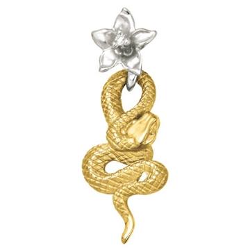 Подвеска 'ЭФА' змея с бриллиантами из желтого золота П-24053
