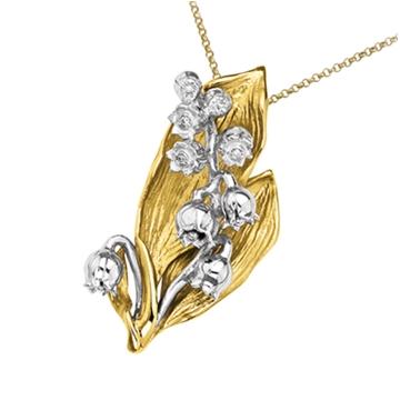 Подвеска 'ЛЕСНОЙ ЛАНДЫШ' с бриллиантами из желтого золота П-14048