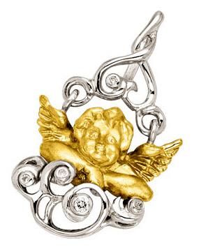 Подвеска с бриллиантами в виде ангелочка 'ОТ ВСЕГО СЕРДЦА' с бриллиантом из желтого золота П-24023
